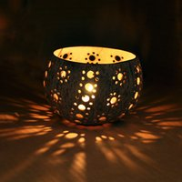Wholesale Thailand imports of wood wood crafts creative coconut coir candlestick lamp romantic candlelight cover creative time