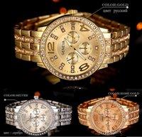 crystal quartz wholesale - Geneva Stainless Steel Watch Fashion Metal Quartz wrist watches for Men Women Unisex luxury watches Geneva Crystal Watches Gold watches