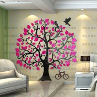 Wholesale Fashion Removable Acrylic D Tree and Bird Wall Sticker Paper for Living Room Wall Decals Home Decor