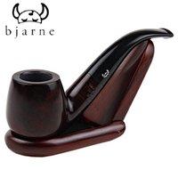 Cheap Wholesale-Denmark BJbjarne Briar Wood Smoking Pipe Smooth Bent Type Europe tobacco Pipe Round Month Black & Dark Red Wine Color