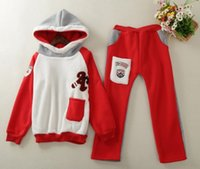 Cheap Winter children suit flannel color matching embroidery hooded tops + pants girls casual add wool thicken kids outfits christmas outfit