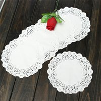 Bamboo bamboo table mat - 10pcs Round Paper Cup Bowl Cake Doilies Mat Table Non Slip Placemat Tableware Pad Wedding Party Decoration