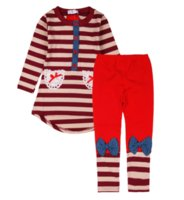 track suit - MOQ Baby Girl s Spring Autumn Long sleeve Strip T shirt Bow Pants Track Suit Outfits Set Lace Pockets colors