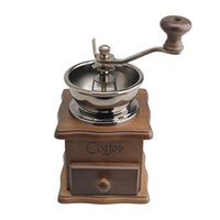 Wholesale Mini Manual Coffee Mill Wood Stand Bowl Antique Hand Coffee Bean Grinder B2C Shop