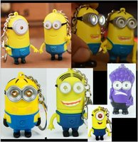 led toys - 2015 color Despicable Me Minion LED Keychain Key Chain Ring Flashlight Torch Sound Toy Promotion Novelty Gift Lover kids gift BBA3532
