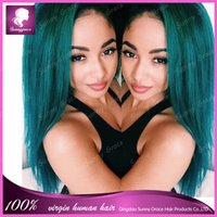 Cheap green human hair wig Best Peruvian virgin human hair wig