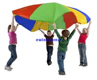 Wholesale NEW Foot Kid Play Sturdy Parachute Canopy Tent Outdoor jump sack Rainbow umbrella Exercise Sport Game