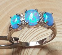 blue stone ring - Nice Three Stone Blue Fire Opal Ring For gift