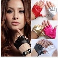 fashion fingerless leather gloves - Fashion PU Half Finger Lady Leather Lady s Fingerless Driving Show Jazz Gloves for Women Men M18C19