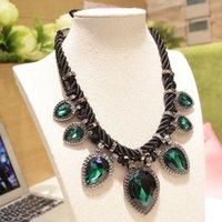 artificial teardrops - 2015 early autumn Popular teardrop shaped hand woven hemp rope Artificial gemstone necklace