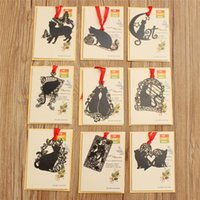 Wholesale 1PCS Unique Fashion Beautiful Design Black Cat Metal Bookmark Novelty Stationery Party Favors Gift for kids Friends