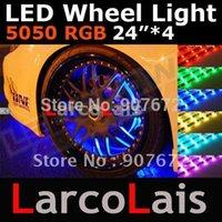 Wholesale 24 Mode Sound Active x24 quot LED Color RGB Remote Car Wheel LED Glow Strip Light Wateproof