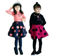 airs cute clothes - 2015 Girls clothing Sets Outfits dot turtleneck Tee Tops wool lycra air cotton kid T Shirt skirts Fall