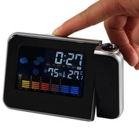 Cheap Multi-function Digital LCD Screen LED Alarm Clock Mini Desktop Projector Clock With Weather Station Free Shipping