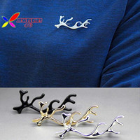 Wholesale 2015 new fashion gold silver black designer metal Antlers deer horn cocktail brooch pins accessories for women