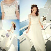 Real Photos A-Line Scoop 2015 White Short Sleeve Prom Dresses With Scoop Neckline Fashion Chiffon Beaded Lace Summer Evening Gowns For Women Real Picture