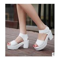 Wholesale 2016 new leisure platform shoes thick heels platform sandals comfortable leather sandals female slope with thick shakes shipping