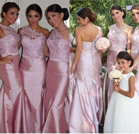Wholesale Charming New Lace Bridesmaid Dresses Sheath One shoulder Long Bridesmaid Gown Custom made Formal Dresses