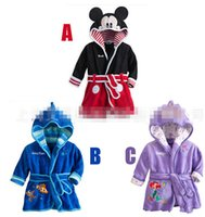 Wholesale 18 OFF In Stock Retail girl and boy cute cartoon Mickey Minnie NEW ARRIVAL towels Children s Bathrobes Pajamas Pajamas Nightdress DM