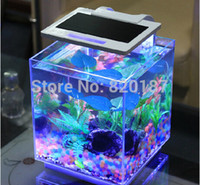 Wholesale Reliable New New High Quality Black White Mini Desktop Led Lamp Light Glass Fish Tank Aquarium Clock