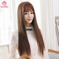 Wholesale Thin air bangs wig long straight hair fluffy female fashion sweet lifelike hair wig repair face