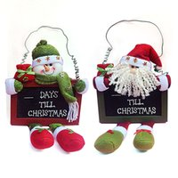 santa blackboard decoration - Christmas Wood Decoration Hang Santa Claus Blackboard X mas Pendant Ornaments Tree Party Cute Decoration Gift cm