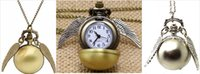 antiques - Harry Potter snitch pocket watches necklace with chain antique pocket fob watches PW010