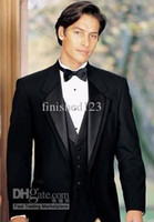 Wholesale New Design Custom Made Two Buttons Black Groom Tuxedos Notch Lapel Best Man Suit Groomsman Mens Wedding Suits