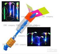 Wholesale 100PX LED Light Up Amazing Flying Sling Arrow Helicopter Rocket Parachute Frisbee