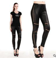 Mid women leggings - Leather leggings for women girls black sexy large leggings stretch middle waist leggings burning fat breathable nightclub leggings FREE
