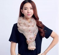 Wholesale Winter Chinese Traditional Embroidery Honeysuckle Embroidered Scarves Exquisite CM White Red Blue Pink Black FreeShipping