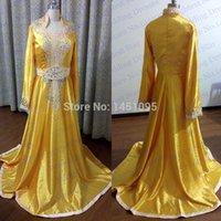Cheap 2015 New Arrival High Quality Custom Made Princess Dubai Kaftan Abaya Gold Satin Long Sleeve Caftan Embroidery Abaya In Dubai Evening Dress