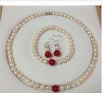 achat en gros de jade perles bracelet-7-8mm blanc perle Akoya Cultured / Red Jade bracelets boucles d'oreilles collier fixés