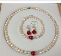 beaded jade earrings - 7 MM White Akoya Cultured Pearl Red Jade bracelets necklace earrings set