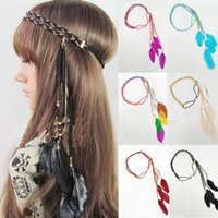 Wholesale Hippie Feather Leaf Hairband Tassels Weave Headband Elastic Headdress