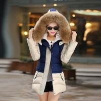 big pads single - 2015 new winter long section of Korean fashion Slim Nagymaros collar Down padded cotton jacket women Elegant Long Outwear Big Fur Collar Lon