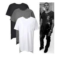 achat en gros de tyga nouvelle mode-Long High Low Tee Nouveau 2015 Mode Hip Hop Man été Tops T-shirt T-shirt Hommes Tyga Swag Vêtements Vêtements Kanye West