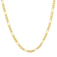 gold chains - 60cm Anti fade Color Gold Necklace Chains Yellow golden Chian jewelry Real Gold Filled Figaro Chain Party daily jewelry