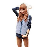 Wholesale Women Spring and Autumn Thicken Cotton Vest Casual Cotton Sleeveless Jackets Short Hooded Fleece Outwear Sleeveless Zipper Cardigans