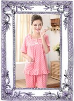 best cotton nightgowns - Summer women sleepwear pink cotton short sleeve long pant ladies fashion casual printing leisure wear pajamas sets woman nightgown best gift