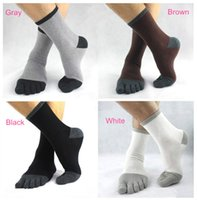 animal free tube - pair New Hot Men s Five Toes Cotton Socks Fashion Cute Boys Divided Toe Middle Tube Solid Patchwork Hosiery