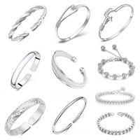 Wholesale 925 Sterling Silver Bangle Bracelet Hot Sale Fashion Cuff Bracelets Bangles for Women Girl Wedding Party Free ship WH