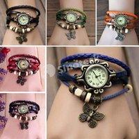 Wholesale Women Leather Bracelets Wrist Watch Charm Bracelet Vintage Butterfly Pendant Weave Wrap Quartz Wristwatches Bangle For Man Free DHL Factory