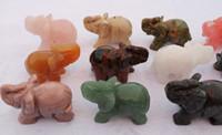 Cheap (12pcs set) hand made 2 inch mix Elephant jade stone rock Holiday decoration fortune Precious Decor gift Semi-precious