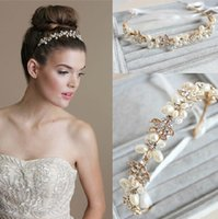 Wholesale 2015 Sexy Gold Hair Accessories Headbands Wedding Handmade Pearl Beaded Crystal Tiara Pearl Jewelry Luxury Bridal Accessories