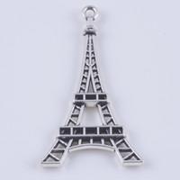 jewelry paris - DIY Antique Silver Copper Alloy Paris Eiffel Tower Charm Pendant Fit Bracelets Necklace Metal Jewelry Making w