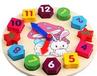 Precio de Reloj digital de la geometría-Forma de reloj de madera Color del reloj de bloques de construcción de juguetes para niños Educación juguetes de juguete Geometría Digital Reloj