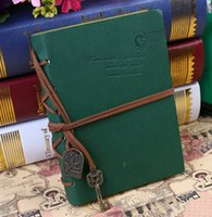 Wholesale Vintage Notebook Journal Diary PU Leather Blank Pages Red Green Orange Handbooks Office School Supplies order lt no track