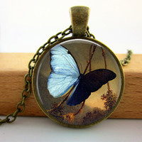 art jewelery - 2015 New Fashion Glass Dome Pendant For Jewelry Indigo Blue Butterfly Necklace Butterfly Pendant Art Glass Necklace Jewelery Q