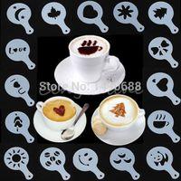Wholesale 16Pcs set Fashion Cappuccino Coffee Barista Stencils Template Strew Pad Duster Spray Tools